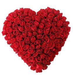 send hundred red roses full heart shaped big arrangement to dhaka, bangladesh