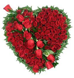 send hundred red roses heart shaped designer arrangement to dhaka, bangladesh