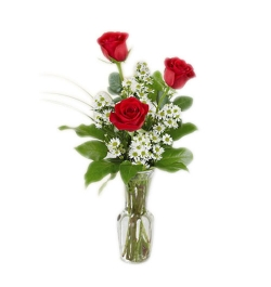 send 3 red roses in a glass vase to dhaka, bangladesh