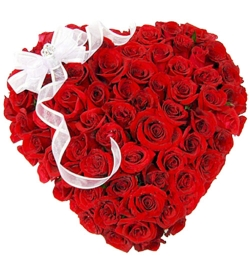 send hundred red roses full heart shaped big box arrangement to dhaka, bangladesh