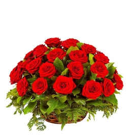 send 24 red roses in beautiful basket to dhaka, bangladesh