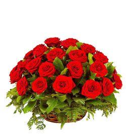 send 24 red roses in beautiful basket to dhaka, bangladesh