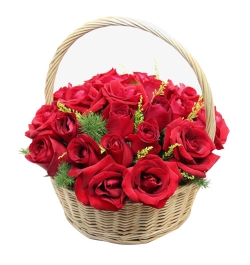 send ​24 red roses in a basket arrangement to dhaka, bangladesh