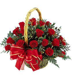 send 36 red roses in a basket arrangement to dhaka, bangladesh