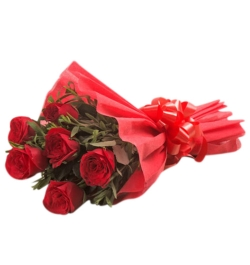 send 6 pcs red roses in bouquet to bangladesh