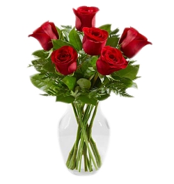 send 6 red roses in vase to dhaka