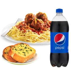 pizza inn bolognaise with garlic bread and pepsi