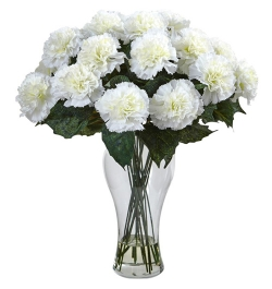 Send 12 Pcs. White Carnations in Vase to Bangledesh