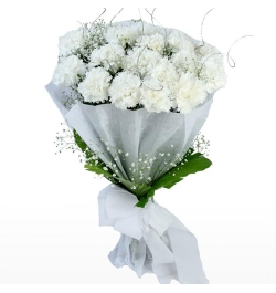 Delivery 12 White Carnations Bouquet to Bangladesh