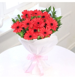 Send 12 Pcs. Red Gerberas in Bouquet to Bangladesh