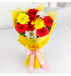 Send 12 Pcs. Mixed Color Gerberas in Bouquet to Bangladesh