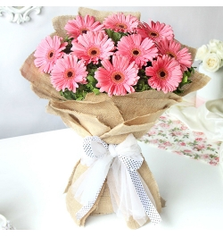Send 12 Pcs. Pink Color Gerberas in Bouquet to Bangladesh
