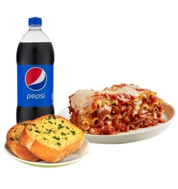 pizza inn lasagna with garlic bread and pepsi