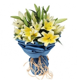 Send 9 Yellow lilies with Solidago to Dhaka in Banglades
