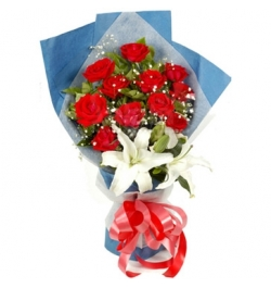 Send Miss You Roses with white Lily to Dhaka in Bangladesh