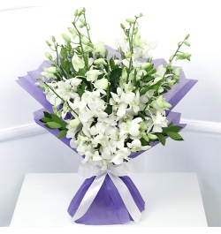 Send A Dozen of White Orchid in Bouquet to Bangledesh