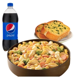 pizza inn penne pasta with garlic bread and pepsi