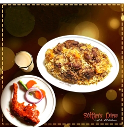 send sultans dine 1 person kachchi biryani with chicken roast and borhani to dhaka