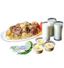 send sultans dine- 3 person kachchi biryani with borhani and jorda/firni to dhaka