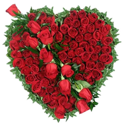 send hundred red roses heart shaped designer arrangement to dhaka, bangladesh