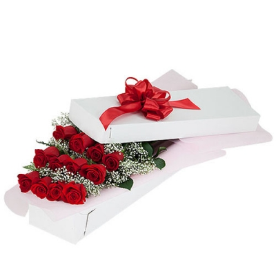 send 12 red roses in a box arrangement to dhaka, bangladesh