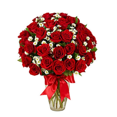 send 24 red roses in glass vase to dhaka, bangladesh