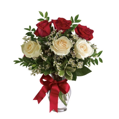 send 3 red roses and 3 white roses in a glass vase to dhaka, bangladesh