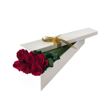 send 6 red roses in a box arrangement to dhaka, bangladesh