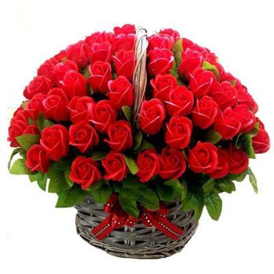 send 100 red roses in a basket arrangement to dhaka, bangladesh