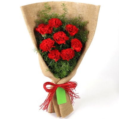 Send 8 Pcs. Red Color Carnations in Bouquet to Bangladesh
