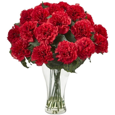 Send 12 Pcs. Red Color Carnations in Vase to Bangladesh