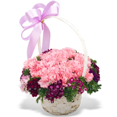 Send 12 Pcs. Pink Color Carnations in Basket to Philippines