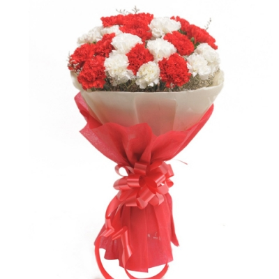 Send 12 Red and White Carnations Bouquet to Bangladesh