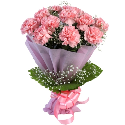Send Bouquet of 12 pink carnations to Bangladesh