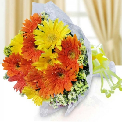 Send 18 Yellow and Orange Gerberas to Bangladesh