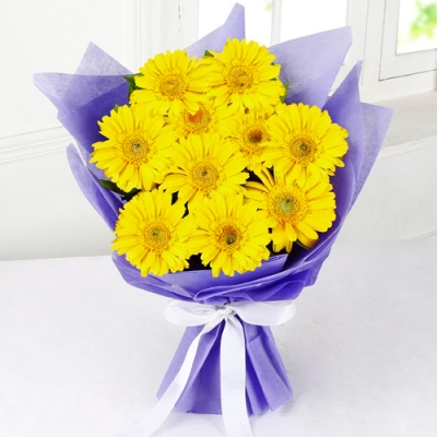 Send A Dozen of Yellow Gerberas in Bouquet to Bangladesh
