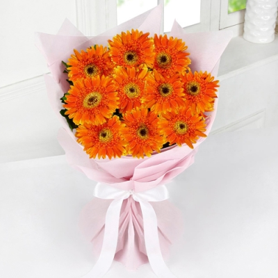 Send 10 Pcs. Orange Color Gerbears in Bouquet to Bangladesh