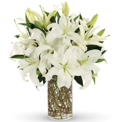 Send 10 Stalks White lilies with Green to Dhaka in Bangladesh