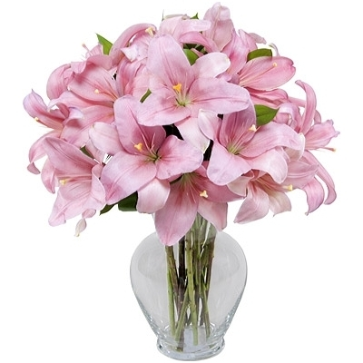 Send Pink Lilies with vase to Dhaka in Bangladesh