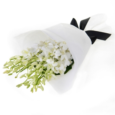 Send 12 Stem White Orchid in a Bouquet to Bangladesh