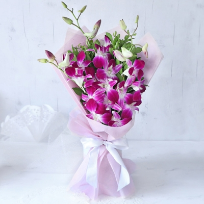 Send 12 Pcs. Pink Color Orchid in Bouquet to Bangladesh