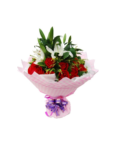 Send 12 Red Roses with 6 White Lily to Bangladesh